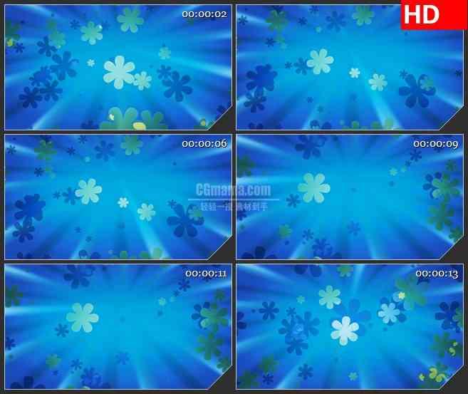bg2660花朵光束旋转蓝色背景高清led大屏视频背景素材