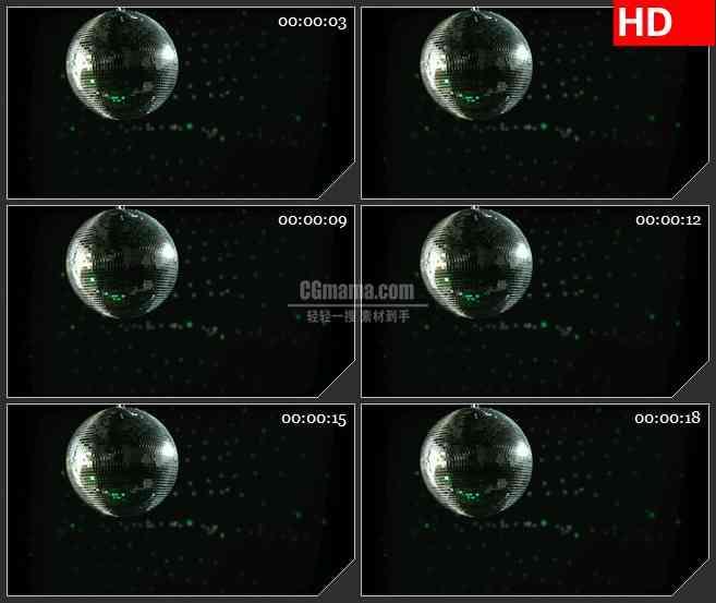 BG2673缓慢旋转迪斯科球多彩灯光2高清led大屏视频背景素材