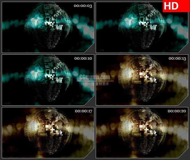 BG2674缓慢旋转迪斯科球多色变化高清led大屏视频背景素材