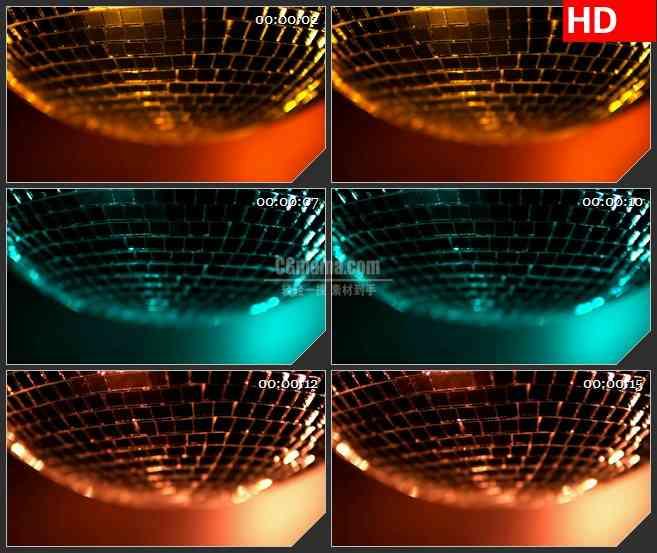 BG2676缓慢旋转时髦金色迪斯科球高清led大屏视频背景素材
