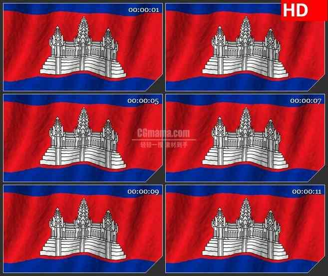 BG2685柬埔寨国旗飘动高清led大屏视频背景素材