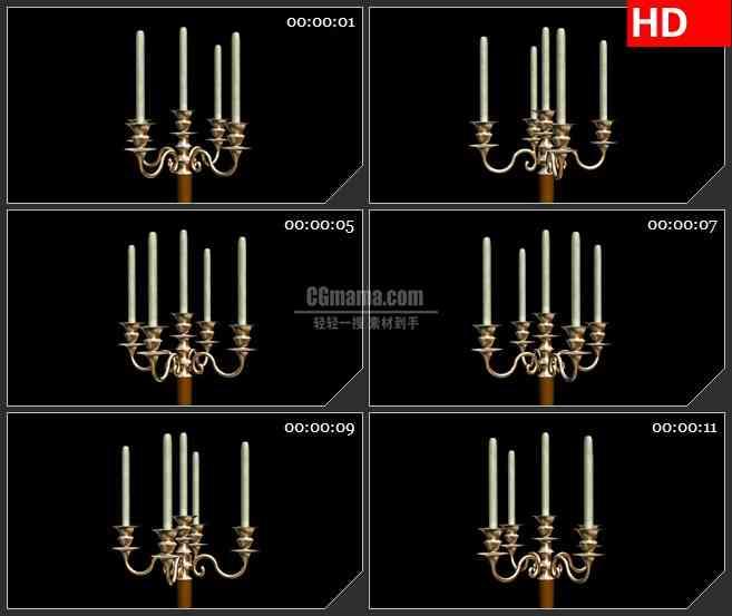 BG2689金色蜡烛台旋转黑色背景高清led大屏视频背景素材