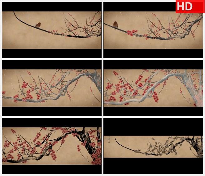 ZY1282冬季小鸟梅花下雪雪景梅花高清水墨动画视频素材