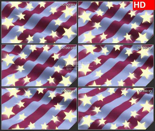 BG2692金色闪光星星旋转旗帜飘动高清led大屏视频背景素材