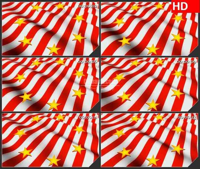 BG2695金色星星在旗帜旋转移动高清led大屏视频背景素材