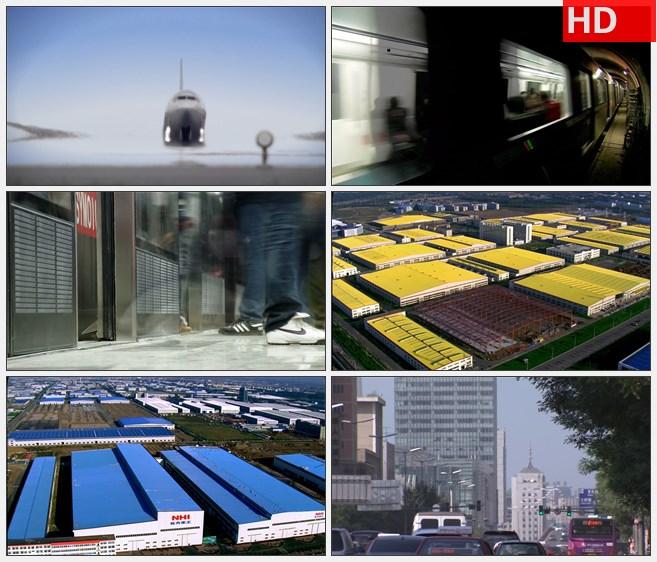 ZY1297高速公路 机场 地铁 高铁 车流 厂房高清实拍视频素材