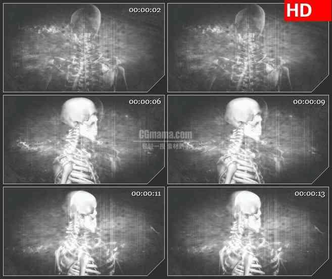 BG2700骷髅骨架旋转老电视风格高清led大屏视频背景素材