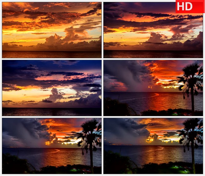 ZY1307海岛椰树岸边海上晚霞火烧云霞光自然美景高清实拍视频素材
