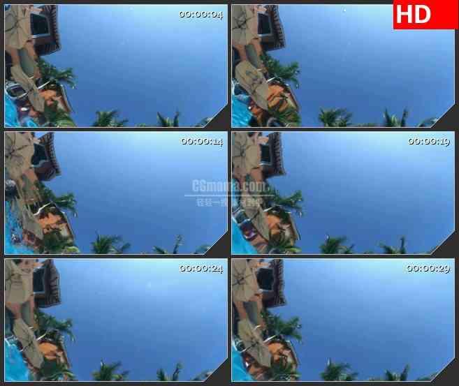 BG2706蓝色天空清澈水荡漾游泳池边景色高清led大屏视频背景素材