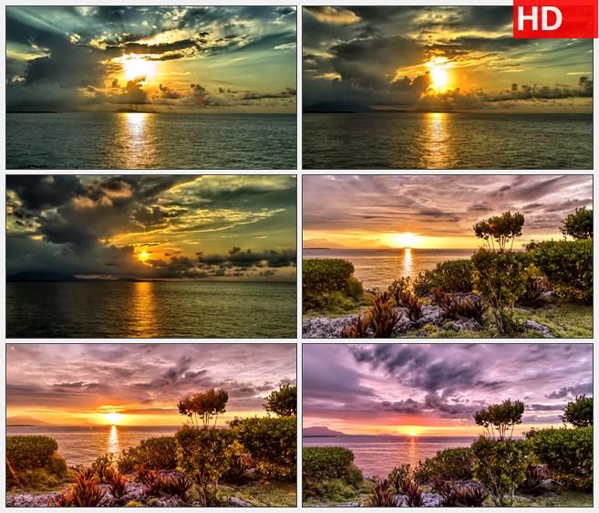 ZY1320海上落日夕阳日出流云自然美景高清实拍视频素材