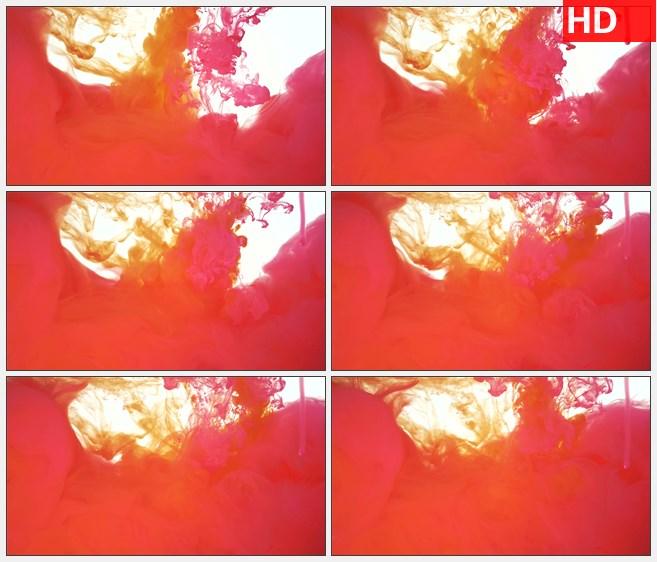 ZY1326红色黄色水墨墨水交汇高清特效视频素材