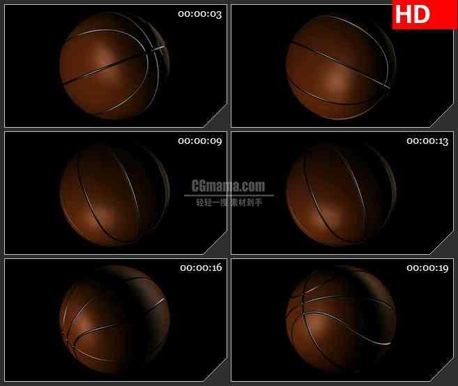 BG2712篮球旋转空间暗色阴影高清led大屏视频背景素材
