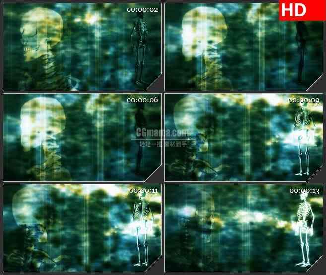 BG2722绿色恐怖骷髅高清led大屏视频背景素材