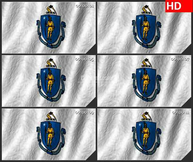 BG2728马萨诸塞州旗帜飘动高清led大屏视频背景素材