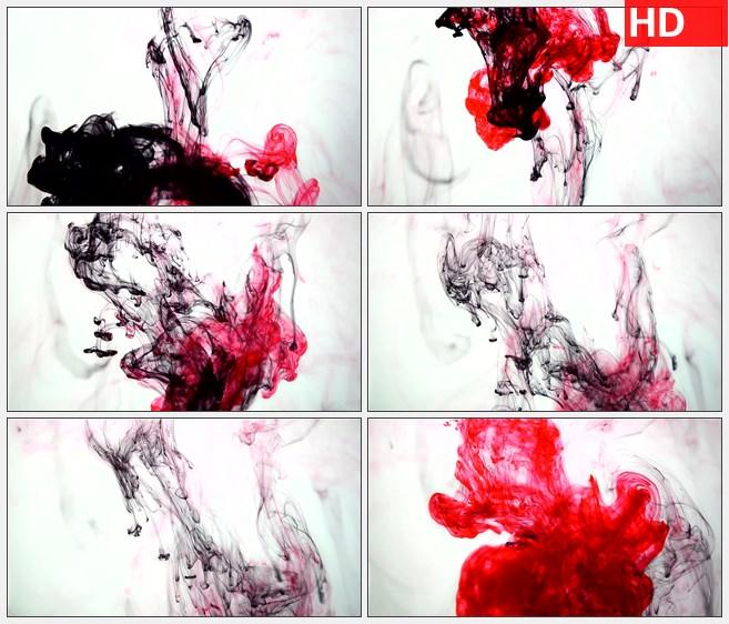 ZY1332红色水墨墨汁滴下滴落高清特效视频素材