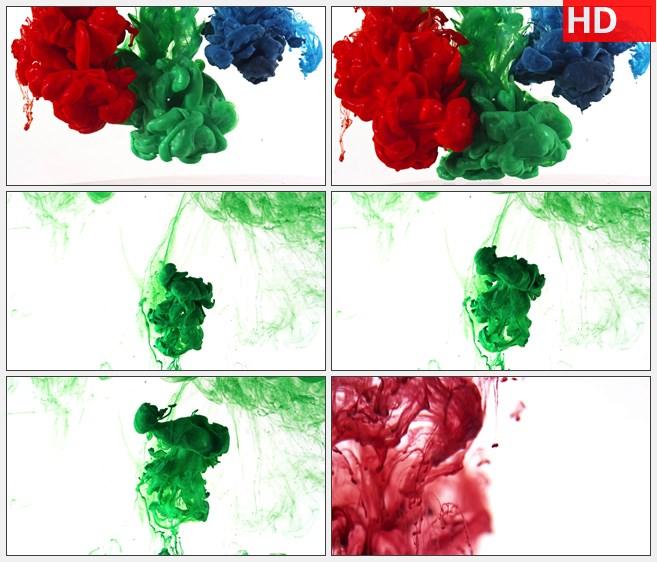 ZY1348蓝色绿色红色流体水墨粒子落下高清特效视频素材