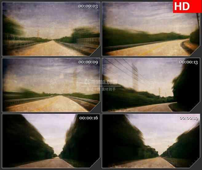 BG2750汽车快速行驶沿途景色高清led大屏视频背景素材