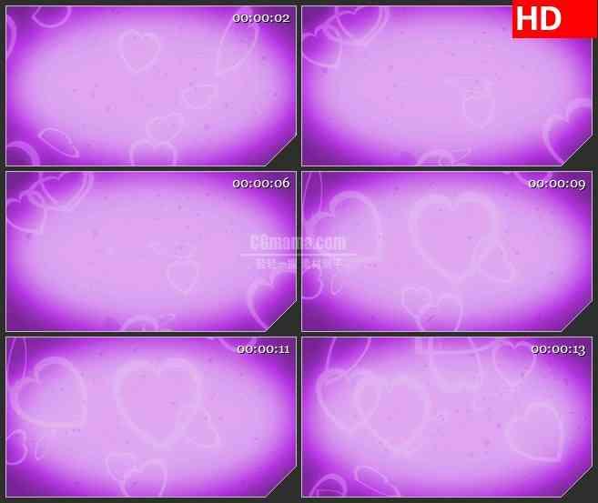 BG2762柔和灯光心散落紫色梦幻背景高清led大屏视频背景素材