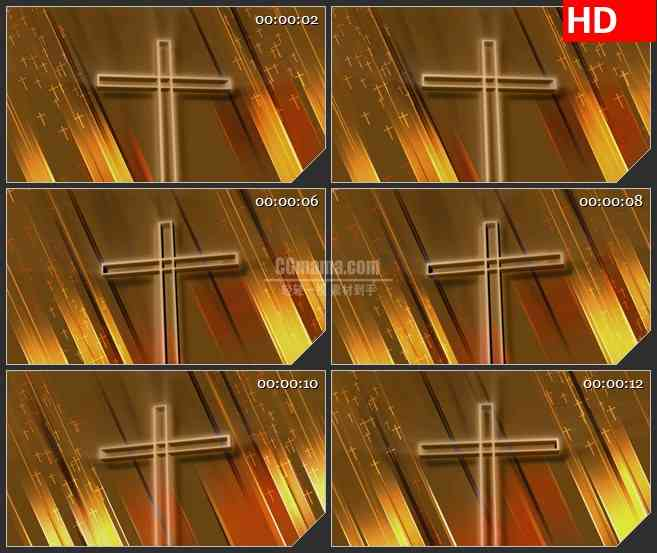 BG2784闪亮十字架旋转金色背景高清led大屏视频背景素材