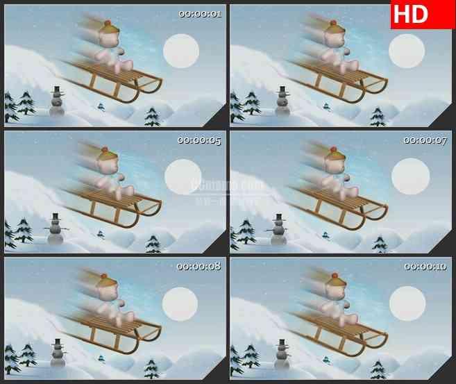 BG2813小熊雪中滑雪动态模型高清led大屏视频背景素材