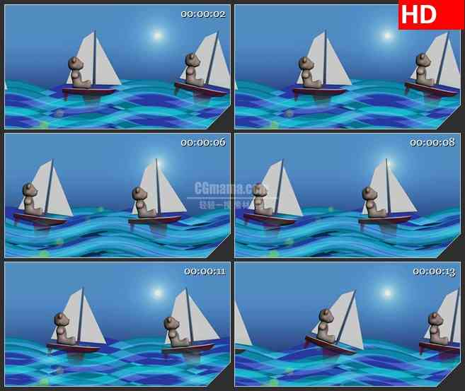 BG2814小熊坐船大海航行模型高清led大屏视频背景素材