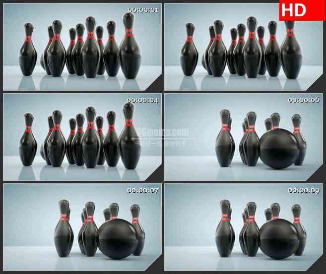 BG2820旋转的三维黑色保龄球高清led大屏视频背景素材