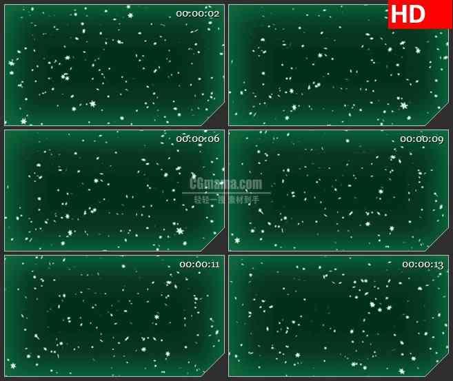 BG2826雪花飘落绿色背景高清led大屏视频背景素材