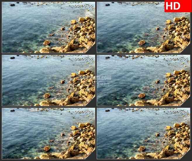 BG2835岩石清澈的河流波动高清led大屏视频背景素材