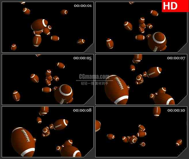 BG2837仰视橄榄球掉落黑色背景高清led大屏视频背景素材