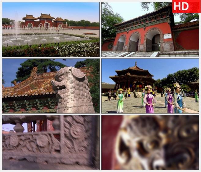 ZY1394沈阳清福陵清朝古建筑喷泉石狮雕刻表演高清实拍视频素材