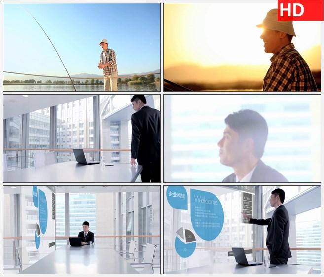 ZY1396手机银行网上银行钓鱼夕阳商务人士高清实拍视频素材