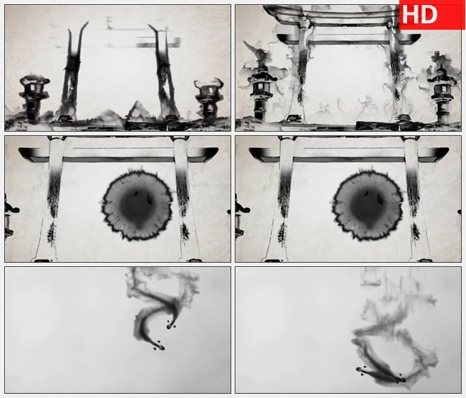 ZY1418水墨建筑大门鱼儿游动高清动画视频素材