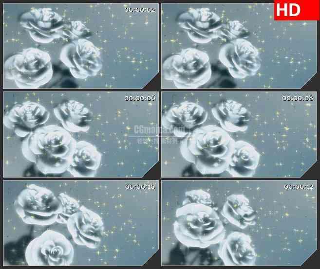 BG2853银色冰冻玫瑰旋转金色花瓣飘落闪亮高清led大屏视频背景素材