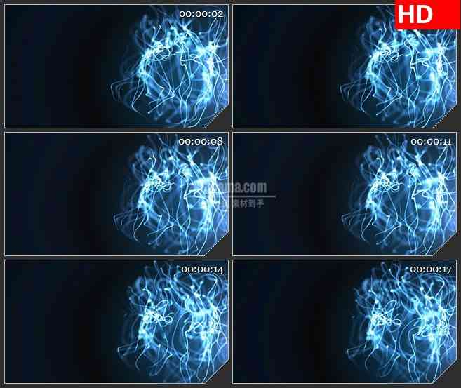 BG2858运动的蓝色线条曲线高清led大屏视频背景素材
