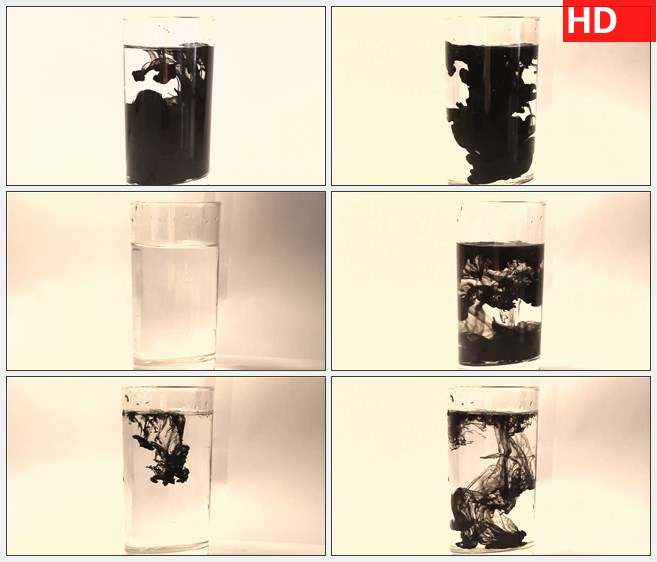 ZY1477向玻璃杯中滴落墨水水墨高清实拍视频素材