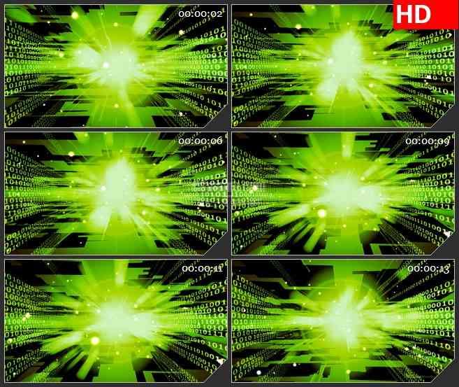 BG2909动感科技之光 绿色纵深光线高清led大屏视频背景素材