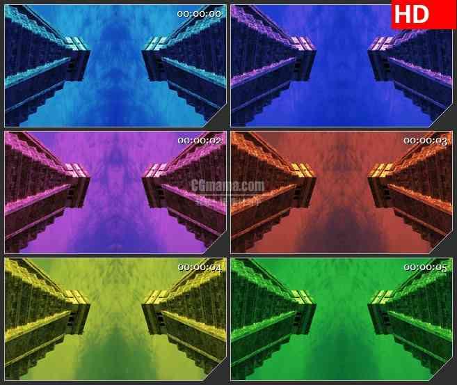 BG2914对称效果 不断变化的金字塔天空高清led大屏视频背景素材