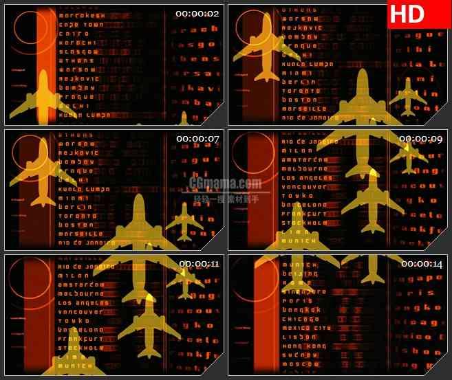 BG2920飞机雷达数据列表高清led大屏视频背景素材