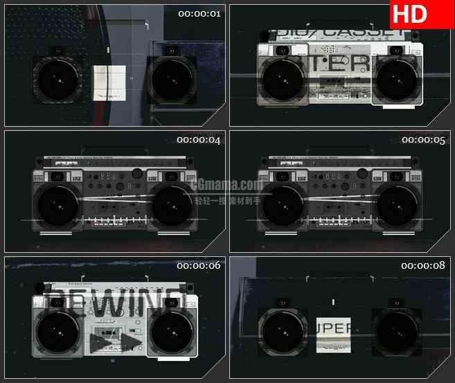 BG2938黑白映像 老式录音机 音频组件高清led大屏视频背景素材