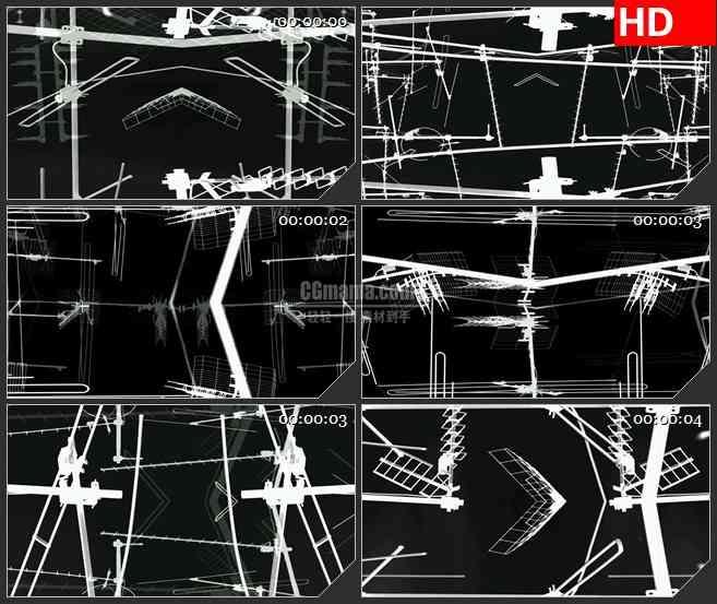 BG2939黑白映像 杂乱的天线高清led大屏视频背景素材