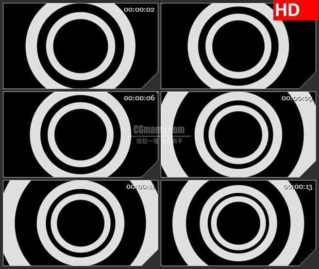 BG2940黑白圆环运动 纵深的圆形隧道高清led大屏视频背景素材