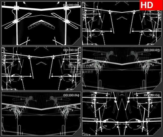 BG2944黑与白 对称图形视觉效果 天线剪影高清led大屏视频背景素材