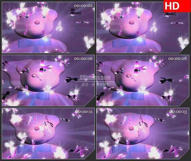 BG2969卡通类 蝴蝶结小熊高清led大屏视频背景素材