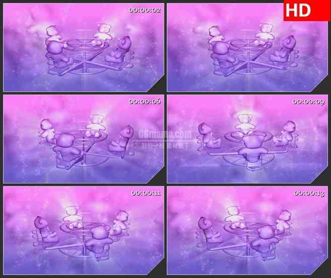 BG2972卡通类 坐在回旋椅上的小熊高清led大屏视频背景素材