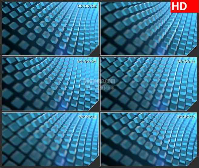 BG2978蓝色的正方体波浪高清led大屏视频背景素材