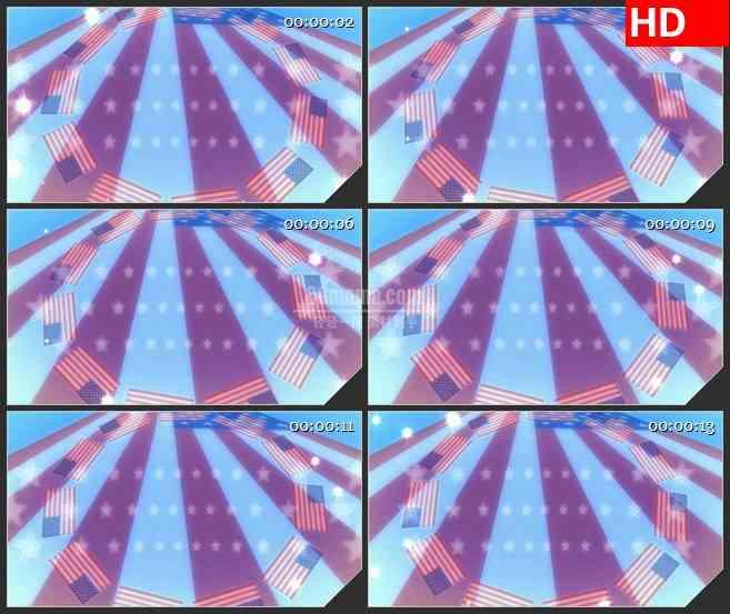 BG2992美国国旗耀斑高清led大屏视频背景素材