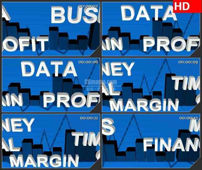 BG3028商务类 数据分析柱状图高清led大屏视频背景素材