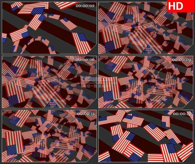 BG3078旋转的美国国旗圆环高清led大屏视频背景素材
