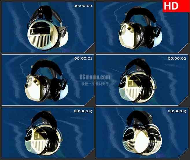 BG3102音乐元素 耳麦特写 旋转的耳麦高清led大屏视频背景素材