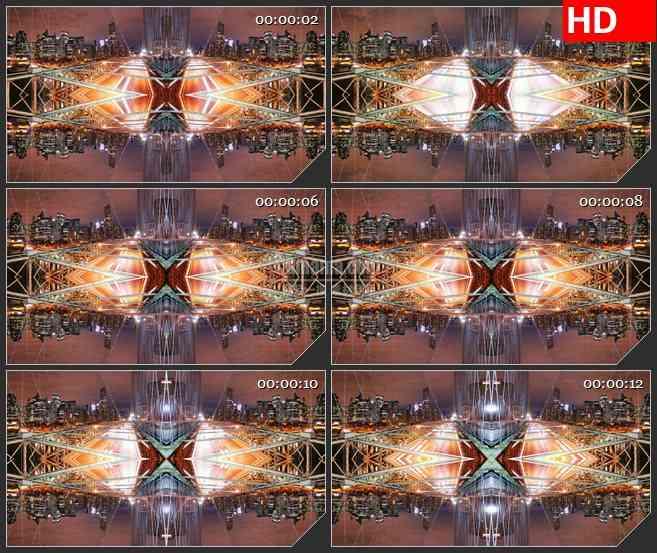BG3174大桥夜景 车水马龙 都市夜景 镜像效果led大屏背景高清视频素材